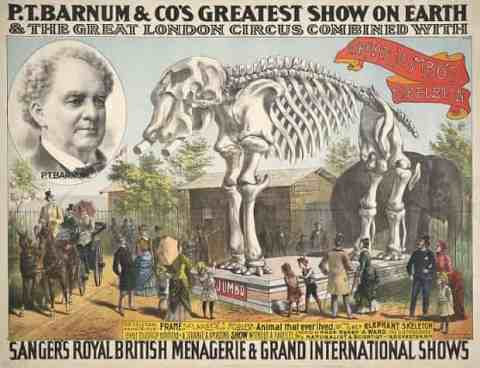 An 1888 poster for P.T. Barnum & Co's Greatest Show on Earth, advertising the presence of Jumbo's skeleton. Photograph: Library of Congress